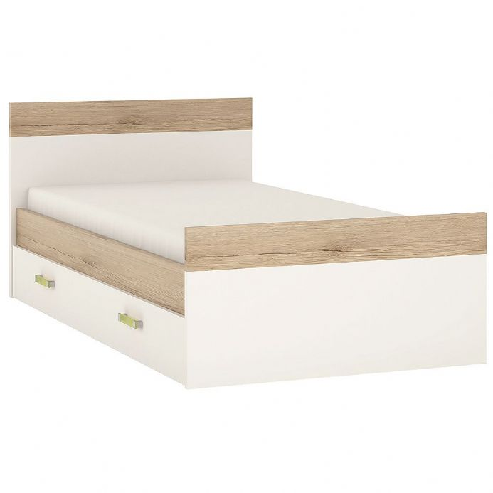 4KIDS Single bed with under drawer in light oak and white high gloss with lemon handles